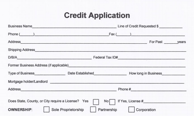 free business credit application form